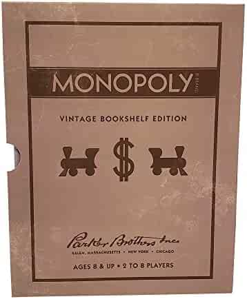 Parker Brothers Inc Fabric Wrapped Vintage Bookshelf Edition Board Games Monopoly