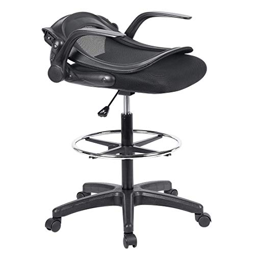 Ulikit Ergonomic Black Mesh Drafting Chair, Office Adjustable Chair Drafting Stool with Adjustable Foot Rest with Arm by Ulikit (Image #3)
