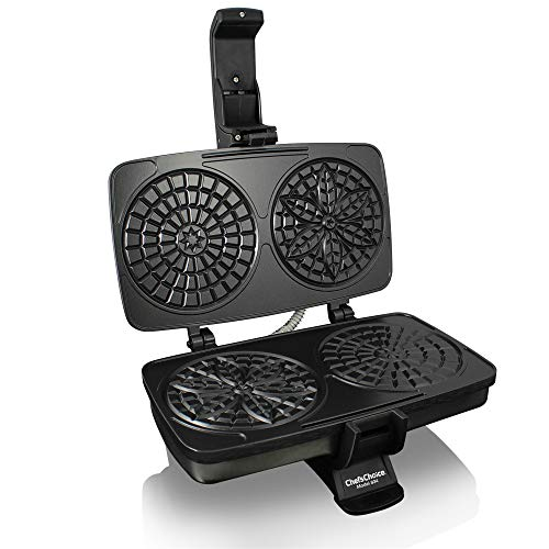 Chef'sChoice 834 PizzellePro Toscano Nonstick Pizzelle Maker Features Baking Indicator Light Consistent Even Heat Press Delicious Pizzelles in Seconds, 2-Slice, Silver - Italian Pizzelle Iron