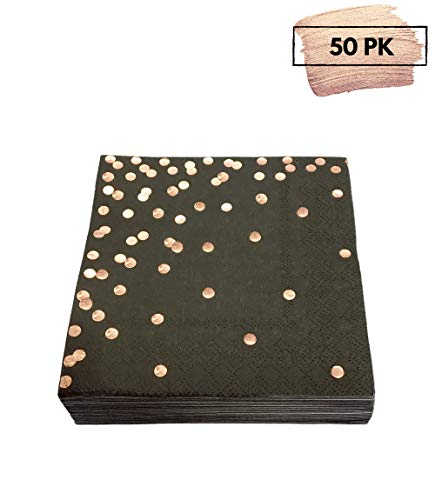 50 Rose Gold Foil Cocktail Napkins | Folded 5 x 5 Inches Disposable Party Napkins | Bulk 3-Ply Paper Napkins Perfect for Dinner, Wedding Anniversary, Birthday, Graduation, Beverage, Retirement, Black