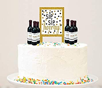 Amazon Alcohol Lovers Cake Food Cupcake Birthday Party Decoration Topper Picks 6pack Wine Bottle Kitchen Dining