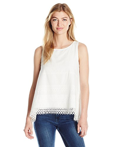 Max Studio Women's Eyelet Embroidery Sleeveless Blouse, Off White, (Max Studio Sleeveless Blouse)