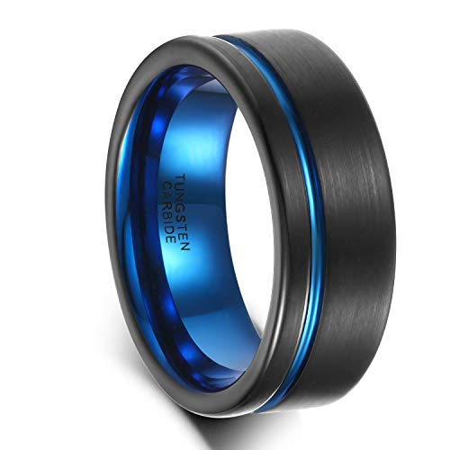 Greenpod 8mm Men's Blue & Black Tungsten Carbide Ring Brushed Matte Finish Flat Two Tone Grooved Wedding Band Size 7
