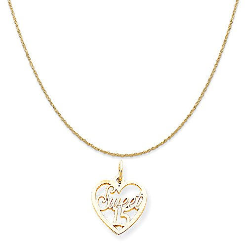 10k Yellow Gold Sweet 15 in Heart Charm on a 14K Yellow Gold Rope Chain Necklace, 16
