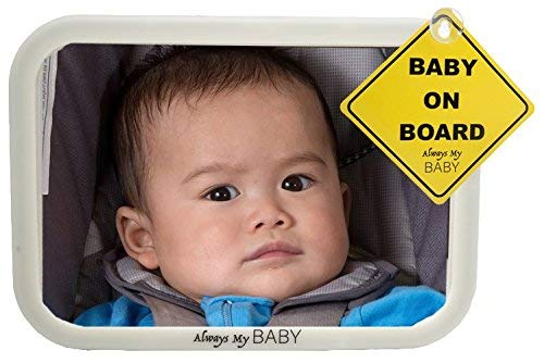 Baby Mirror for Car - Glow in The Dark - Convex Shatterproof Glass - Safety Accessory - Fully Assembled - Mirror to See Baby in Rear Infant Car Seat - Matte Finish - Crash Tested from Always My Baby