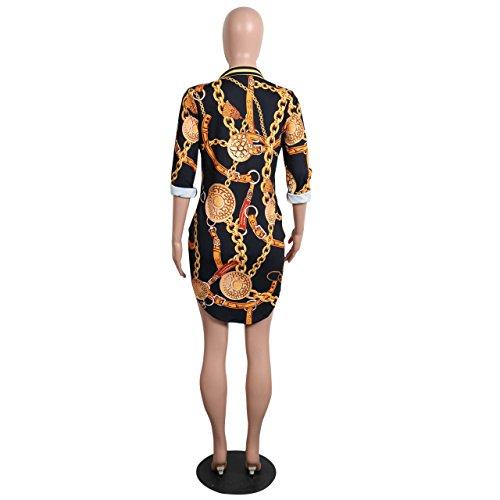 Remelon 1 Shirt Collar Down Blouse Long Print Floral Womens Mini Button Black Dress Dress 4wxOZqr4FW