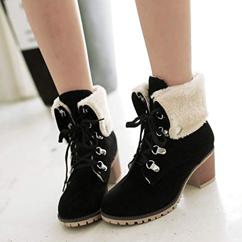 Lined Vitalo Black up Warm Winter Block Mid Fur Ankle Heel Boots Lace Womens x7U7E