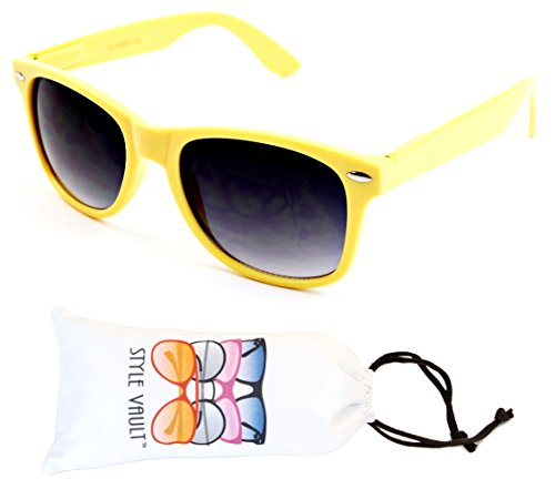 W57-vp Style Vault 80s Wayfarer Sunglasses (S2115V Yellow-Smoked, - Glasses Style 80s