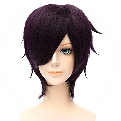 Gintama Cosplay Costume Wig Shinsuke Takasugi Short Anime Party Dark Purple Hair