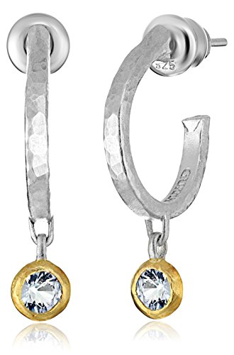 GURHAN ''Skittle'' Sterling Silver White Sapphire Hoop Earrings by Gurhan