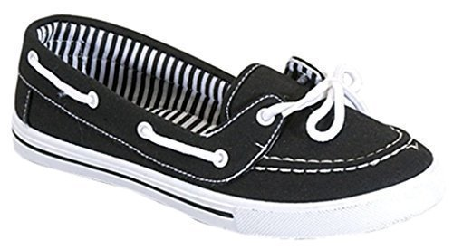 Delight 82 Canvas Lace up Flat Slip On Boat Comfy Round Toe Sneaker Tennis Shoe, Black/White, 5.5