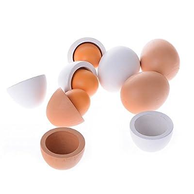 Yantu 6pcs Wooden Easter Eggs Yolk Pretend Children Play Kitchen Game Cook Food Kids Toy