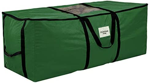 Christmas Tree Storage Bag, Heavy Duty Canvas Xmas Tree Storage Box, Large for Up to 9ft Artificial Tree, Durable Handles with Double-Ended Zipper Green