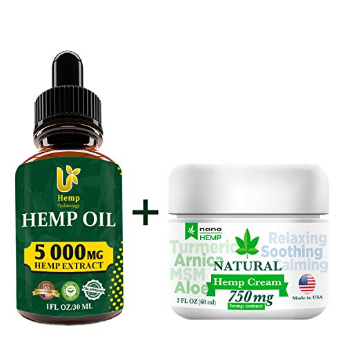 Hemp Cream + Hemp Oil Pain Relief, Relaxation, Better Sleep, All Natural, Pure Extract, Vegan Friendly