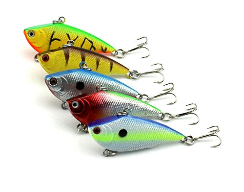 "Hengjia Pack of 5 Rattling game VIB fishing lures Crank Hard plastic Fishing baits Vibe Vibration Bass & Trout fishing tackles 5.5cm/2.17""/7.5g"