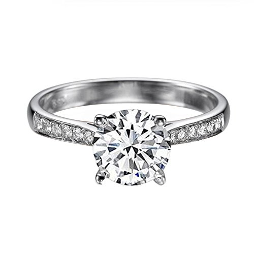 6.50MM D-F VS Moissanite Ring With Diamonds (0.86 ct, 1.12 ctw dew) Channel Set Cathedral 14K Gold