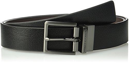(Armani Exchange Men's Skinny Leather Belt, Black/Brown, 28)