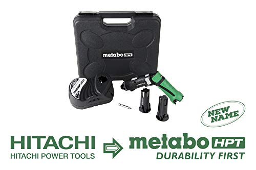 Metabo HPT DB3DL2 3.6V Cordless Screwdriver Kit, 2 Lithium Ion Batteries, Dual Position Handle, LED Light, 21 Clutch Settings, Forward/Reverse, Lifetime Tool Warranty