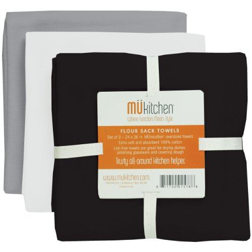MUkitchen Cotton Flour Sack Towel, 24 by 36-Inches, Set of 3, Chalkboard
