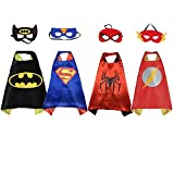 Set of 4 - Superhero Children's Costumes|Superman - Spiderman - Batman - and Flash Cape and Mask Set|Party Favors Outfit