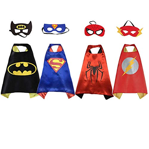 Set of 4 - Superhero Children's Costumes|Superman, Spiderman, Batman, and Flash Cape and Mask Set|Party Favors Outfit