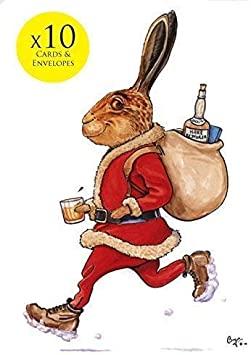 10 x Hare Christmas Cards