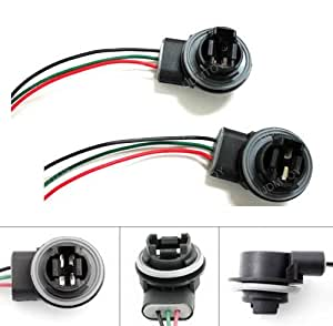 iJDMTOY 3156 3157 Wiring Harness Sockets For LED Bulbs, Turn Signal Lights, Brake Lights