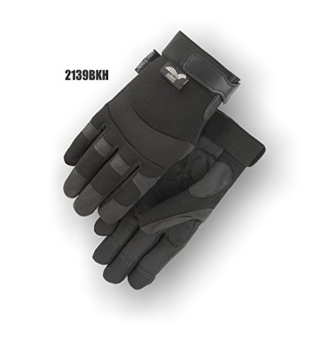 (12 Pair) Majestic HEATLOK LINED VELCRO SYNTHETIC DOUBLE PALM GLOVES WITH KNIT BACK - 2X LARGE(2139BKH/12)