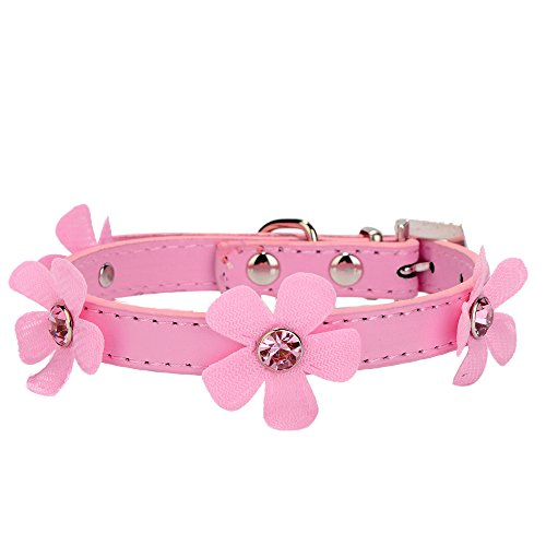 Neonr Cute Bling Crystal Flower Pattern PU Leather Dog Cat Collars.(Pink) Leather Colored Dog Collar