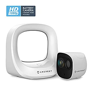 Amcrest Battery Home Security Camera System Wireless Outdoor 1080P, 6 Month Rechargeable Battery, Night Vision, Indoor/Outdoor IP65 Weatherproof, 2-Way Audio, 1 Cam Kit AB2WFSET