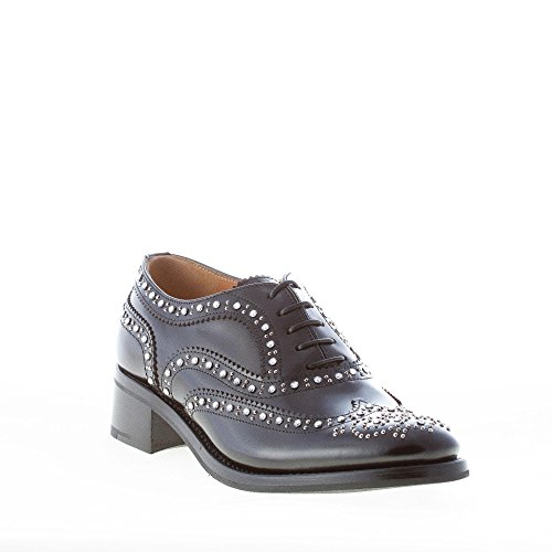 CHURCH'S Donna e in Francesina Scarpa Swarovski Nero con Catherine Borchie Spazzolata Pelle Shine Nero rrqW4dP