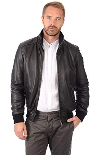 Cloudberry Mens Bomber Genuine Lambskin Leather Jacket for Men XL ()