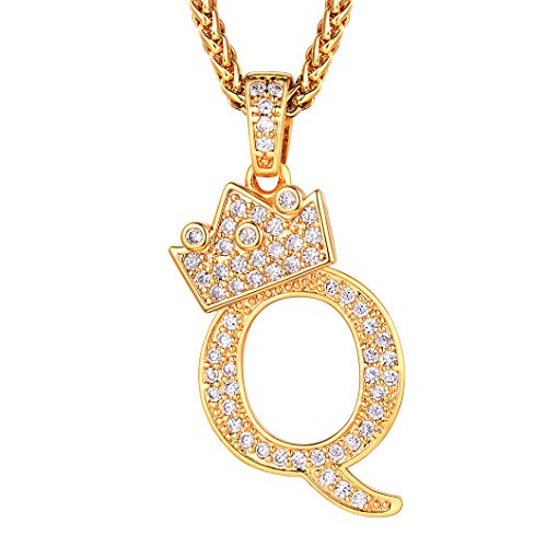 Richsteel Initial Letter Q Necklace Women Men CZ Alphabet Pendant with Chain 22'' Hip Hop Hippie Ice Out Fashion Jewelry Gift for Boyfriend Girlfriend