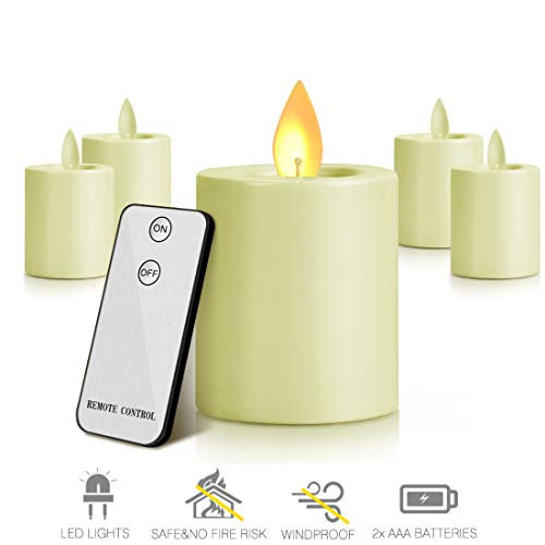 MaLivent Flameless Candles 4 Pack Set Battery Operated LED Flames Flickering Tea Lights Candle Pillars Moving Wick Ivory Votive Candles with Remote Control Timer