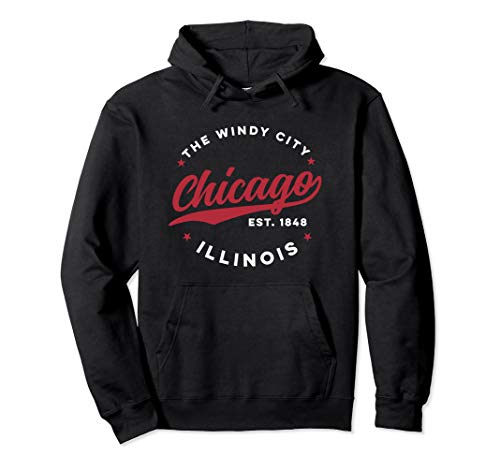 Vintage Chicago Windy City Illinois Red Text Pullover ()