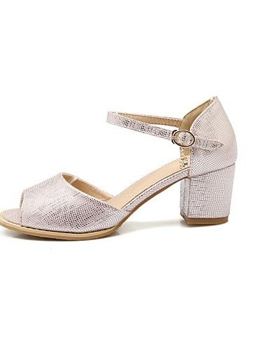LFNLYX Zapatos de mujer-Tacón Robusto-Punta Abierta-Sandalias-Exterior / Oficina y Trabajo / Casual-Materiales Personalizados-Rosa / Plata / Oro Silver