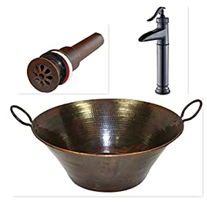 "SimplyCopper 16"" Round Copper Cazo Vessel Bath Sink with Handles, Faucet and Daisy Drain Included"