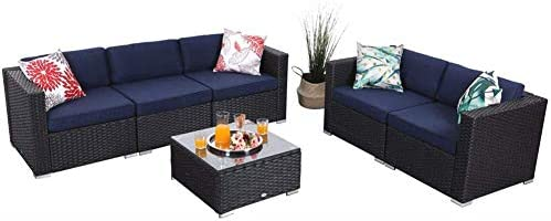 PHI VILLA 6 Pieces Outdoor Patio Furniture Sets – All Weather Patio Rattan Sectional Sofa Set with Cushions and Glass Table Blue