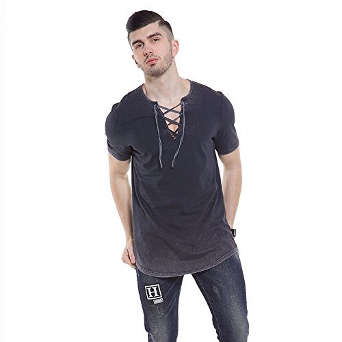 YANWENFANG Hipster Men T-Shirt Cotton Vintage Lace Up V Neck Fashion Slim Fit Hip Hop Tee