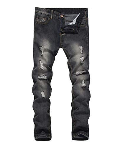 Lannister Fashion Pantalones Vaqueros Destruidos Ajustados Regulares De Hombres Los Skinny Pantalones Vaqueros Rasgados Ajustados De Los Pantalones Vaqueros del Dril De Algodón Negro