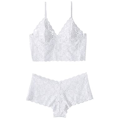 Escante Women's Lace Cami Set, White, Large