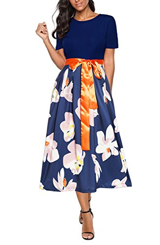 Casual Vintage Dress Sleeve Puffy Print With Belt Party DingAng Swing Blue Floral Short 0x4fw4qg