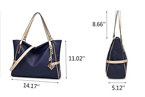 Blue Bag Leather Shoulder Pendant Studded with Purse Women PU Tassel Handbag tote Hobo fU68wq7