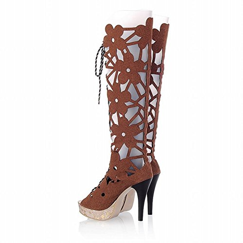 Charme Voet Dames Zomer Platform Hoge Hak Peep Toe Knie Hoge Sandalen Laarzen Bruin