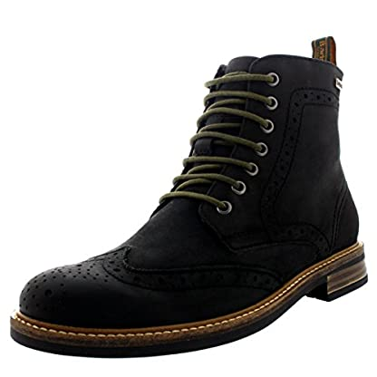 Mens Barbour Belsay Smart Leather Work Office Lace Up Brogue Ankle Boots 1