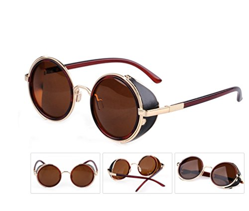 Tansle Iron Man Sunglasses Leather Block Metal Frame Retro - Ironman Sun Glasses