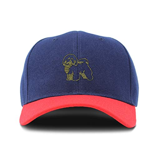 Frise Bichon Baseball Cap - Speedy Pros Bi Color Baseball Cap Bichon Frise Outline Gold Embroidery Acrylic Dad Hats for Men & Women Strap Closure Navy Red Design Only One Size