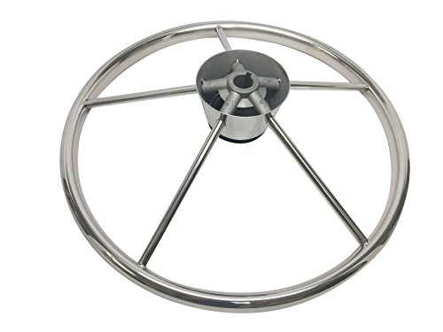 Pactrade Marine Destroyer Style SS304 Five Spoke Steering Wheel With Teak Cap by Pactrade Marine (Image #3)