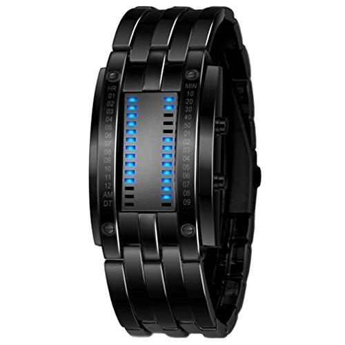 (COCOTINA Luxury Men's Waterproof Stainless Steel Date Digital LED Bracelet Sport Watches (Black))