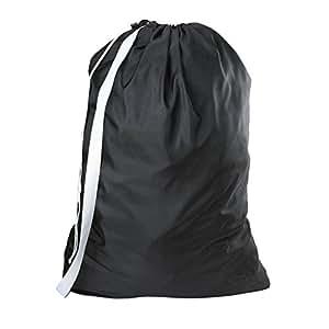 Amazon Com Nylon Laundry Bag With Shoulder Strap Black